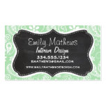 Celadon Paisley; Floral; Chalkboard look Business Card Template