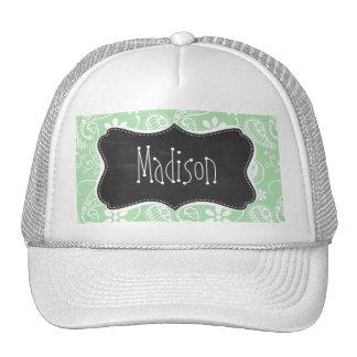 Celadon Paisley; Floral; Chalkboard look Trucker Hat