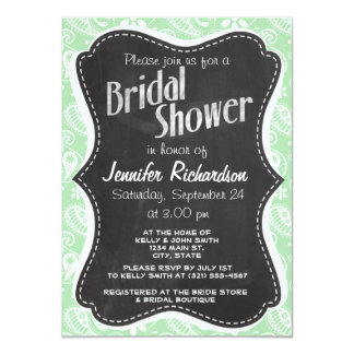 Celadon Paisley; Floral; Chalkboard look Personalized Invitations