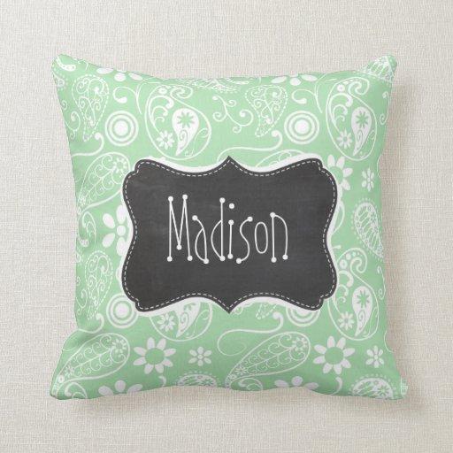 Celadon Paisley; Floral; Chalkboard look Pillow