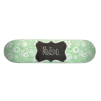 Celadon Paisley; Floral; Chalkboard look Skate Deck