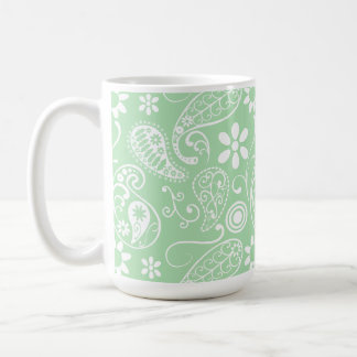 Celadon Paisley; Floral Coffee Mug