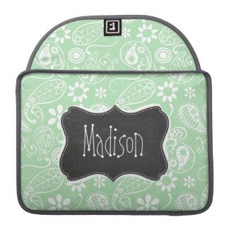 Celadon Paisley; Floral; Mirada de la pizarra Funda Macbook Pro