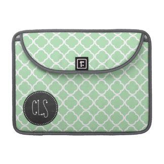 Celadon Quatrefoil; Chalkboard look MacBook Pro Sleeve