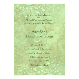 Celadon Vintage Floral Wedding Invitation