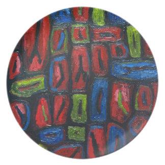 Celdas de prisión del extracto del color primario plato de cena