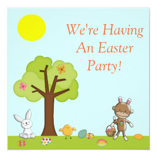 """Celebración al aire libre feliz de Pascua Invitación 5.25"""" X 5.25"""""""