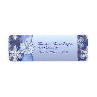 Celebración azul cristalina del copo de nieve etiqueta de remite