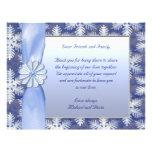 Celebración azul cristalina del copo de nieve tarjeta publicitaria