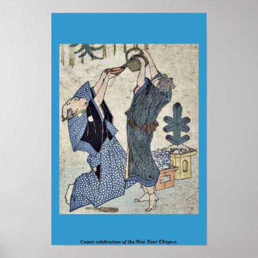 Celebración cómica del Año Nuevo Ukiyo-e. Posters