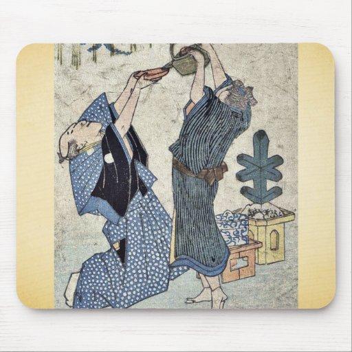 Celebración cómica del Año Nuevo Ukiyo-e. Alfombrilla De Ratón
