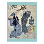 Celebración cómica del Año Nuevo Ukiyo-e. Tarjetas Postales