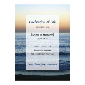 """Celebración conmemorativa de la foto del océano de invitación 5"""" x 7"""""""