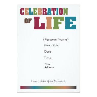 """Celebración conmemorativa de la vida - colorida invitación 5"""" x 7"""""""