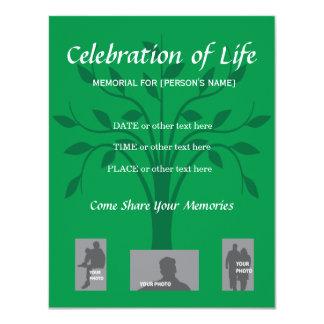 """Celebración conmemorativa de la vida - diseño del invitación 4.25"""" x 5.5"""""""