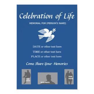 """Celebración conmemorativa de la vida - paloma de invitación 5"""" x 7"""""""