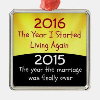 Celebración de 2015 divorcios adorno navideño cuadrado de metal