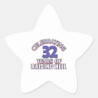 Celebración de 32 años de infierno de aumento pegatina en forma de estrella