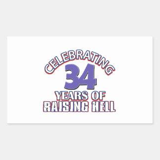 Celebración de 34 años de infierno de aumento pegatina rectangular