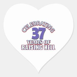 Celebración de 37 años de infierno de aumento pegatina en forma de corazón