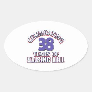 Celebración de 38 años de infierno de aumento pegatina ovalada