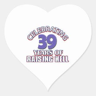 Celebración de 39 años de infierno de aumento pegatina en forma de corazón