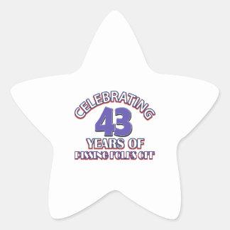 Celebración de 43 años de infierno de aumento pegatina en forma de estrella