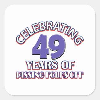 Celebración de 49 años de infierno de aumento pegatina cuadrada