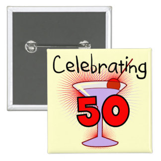 Celebración de 50 camisetas y regalos pin cuadrada 5 cm