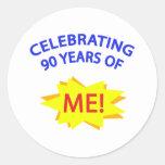¡Celebración de 90 años de mí! Pegatina Redonda