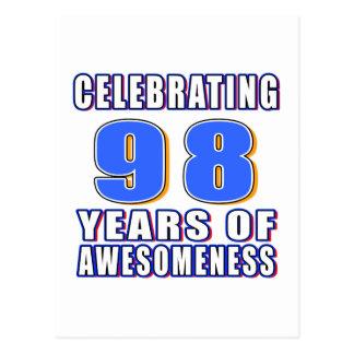 Celebración de 98 años de awesomeness tarjetas postales