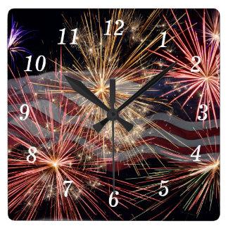 Celebración de América Reloj Cuadrado