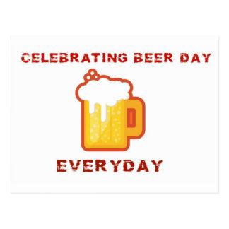Celebración de día de la cerveza postal