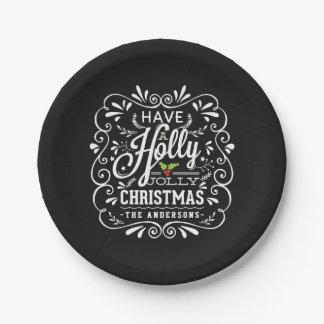 Celebración de días festivos alegre de la pizarra plato de papel de 7 pulgadas