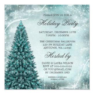 Celebración de días festivos azul del árbol de invitación 13,3 cm x 13,3cm