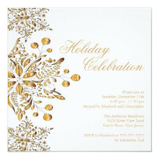 """Celebración de días festivos de lujo de los copos invitación 5.25"""" x 5.25"""""""