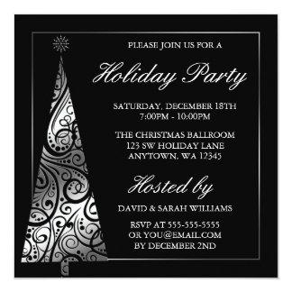 Celebración de días festivos de plata negra del invitación 13,3 cm x 13,3cm