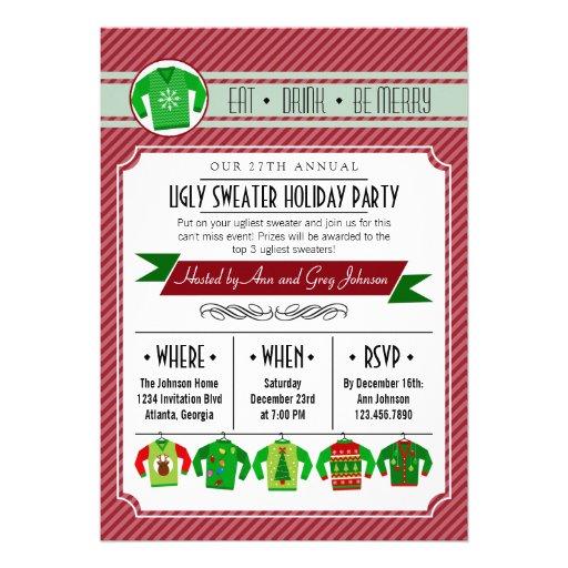Celebración de días festivos fea rayada moderna de invitaciones personalizada