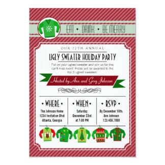 """Celebración de días festivos fea rayada moderna invitación 5"""" x 7"""""""