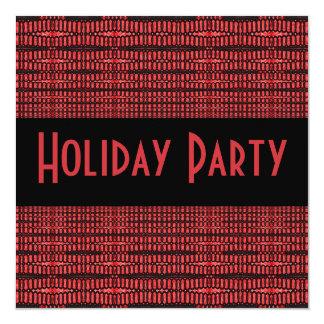 """celebración de días festivos negra roja invitación 5.25"""" x 5.25"""""""