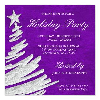 """Celebración de días festivos púrpura y de plata invitación 5.25"""" x 5.25"""""""