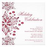 Celebración de días festivos roja de lujo de los c invitaciones personalizada