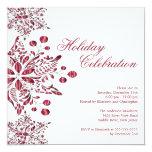 Celebración de días festivos roja de lujo de los invitaciones personalizada