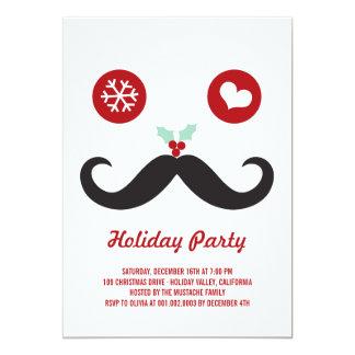 Celebración de días festivos sonriente del bigote invitación 12,7 x 17,8 cm