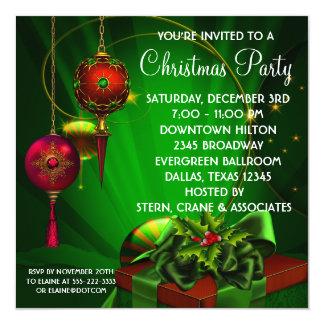 Celebración de días festivos verde roja del invitaciones personalizada