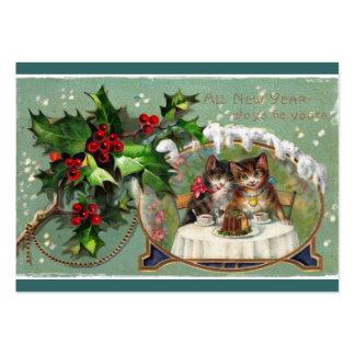 Celebración de gatitos del Año Nuevo Tarjetas De Visita Grandes