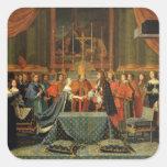 Celebración de la boda de Louis XIV Calcomania Cuadradas