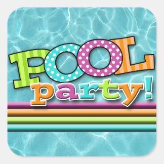 Celebración de la fiesta en la piscina pegatina cuadrada