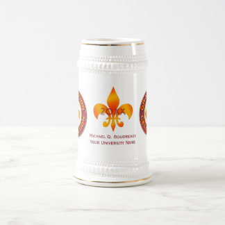 Celebración de la graduación de la flor de lis jarra de cerveza
