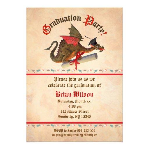 Celebración de la graduación del dragón invitacion personal